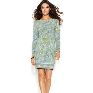 Michael Kors long sleeve paisley  jersey dress M